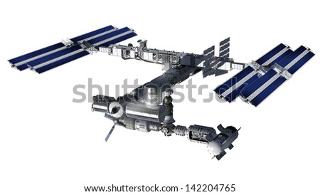 Satellite Spacestation flying over Earth with reflective solar panels and a modular interchangeable structure. Isolation path included in file, on white