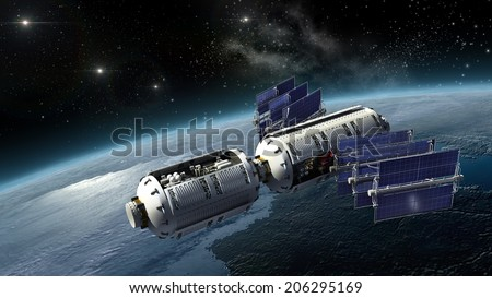Satellite surveying Earth, spacelab or spacecraft design for sci-fi interstellar space travel or futuristic military war games. Earth map is a .jpg file provided under general permission by NASA.  - stock photo