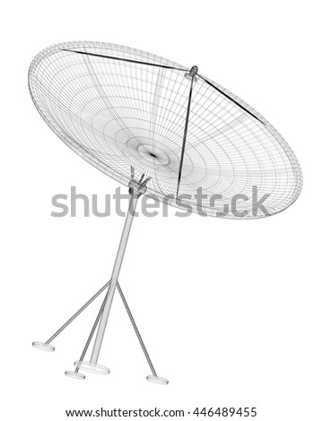 satellite tracking system, satellite dish on the background. 3 D rendering