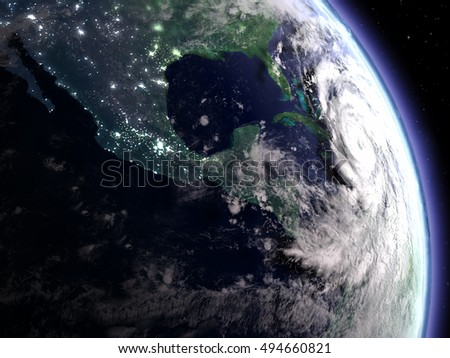 Satellite view of disastrous hurricane Matthew approaching Florida on early morning. 3D illustration. Elements of this image furnished by NASA