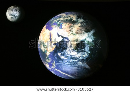 Satellite view of Earth and Moon, photo of the accurate model - stock photo