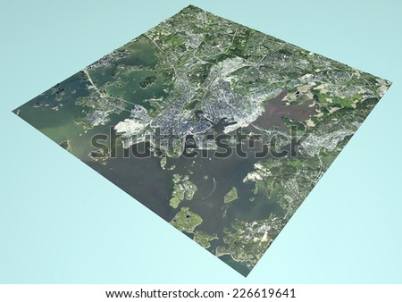 Satellite View of Helsinki, Finland, map, section 3d. Element of this image are furnished by NASA - stock photo