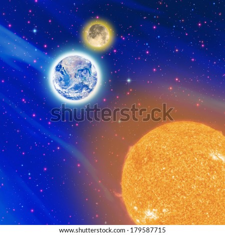 Satellite view on the Sun, Moon and Earth. Sun and Earth furnished by NASA/JPL. Stars, Milky Way and Moon are my astro-photography work. - stock photo