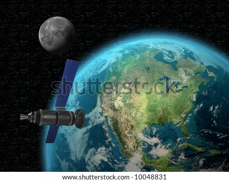 Satellite with earth and moon in space 3d render - stock photo
