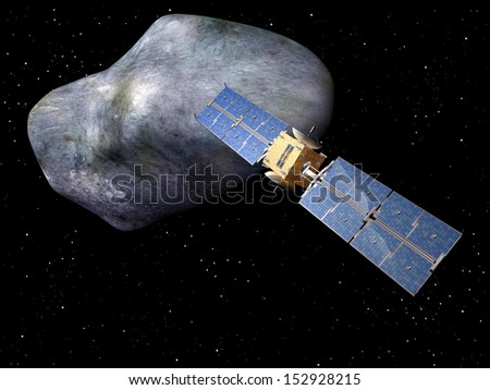 Satellite with large asteroid looming up behind it - stock photo
