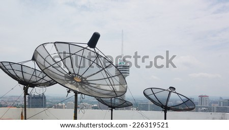 satellites dishes antenna on roof top