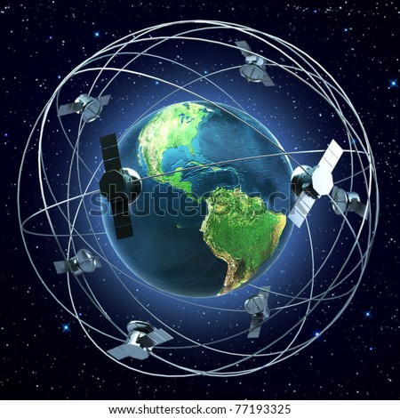 Satellites flying around earth background - stock photo
