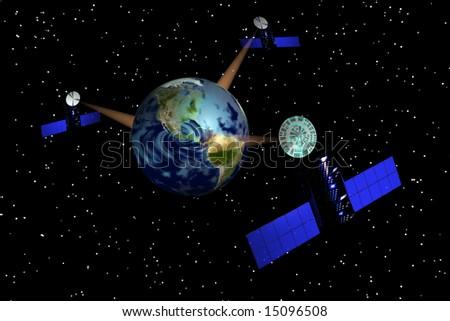 Satellites relay data to Earth map courtesy nasa - stock photo