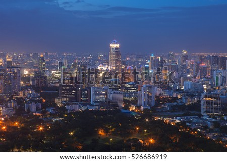 Sathorn District with Modern Building, Bangkok Cityscape at dusk (Thailand)