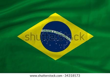 Satin Brazil flag - stock photo