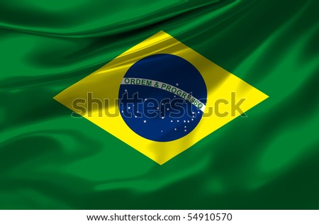 Satin Brazil flag - stock photo