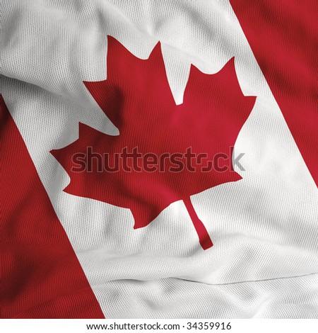 Satin Canada flag - stock photo