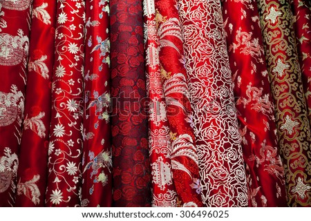 Satin chinese fabrics/Satin chinese fabrics - stock photo