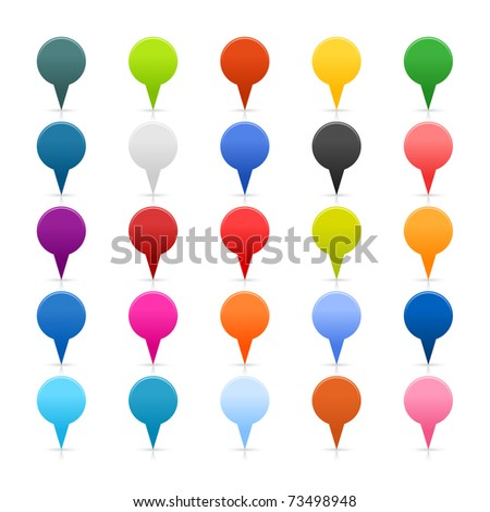 Satin color mapping pins web 2.0 buttons and shadow and reflecton on white. - stock photo