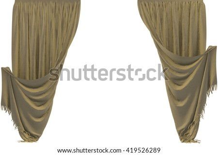 Satin curtain. Isolated on white background. Include clipping path. 3D illustration.