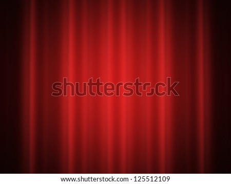 Satin curtain on red color