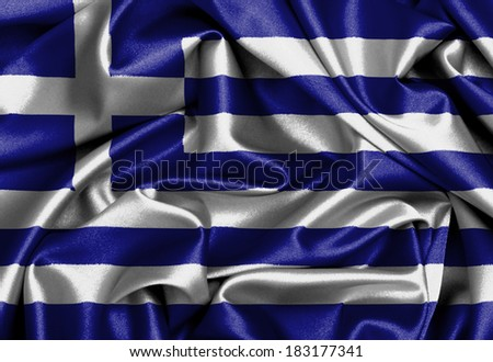 Satin flag, three dimensional render, flag of Greece