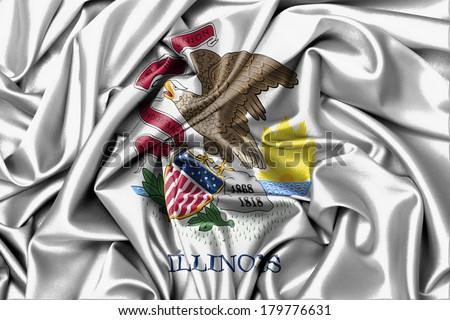 Satin flag, three dimensional render, flag of Illinois - stock photo