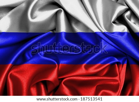 Satin flag, three dimensional render, flag of Russia - stock photo