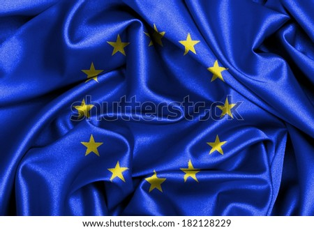 Satin flag, three dimensional render, flag of the European Union