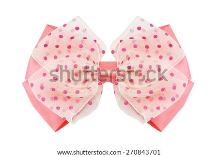 Satin gift bow. Ribbon. Isolated on white - stock photo