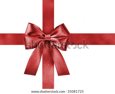 satin red ribbon bow on white background - stock photo