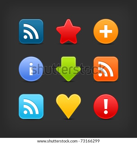 Satin smooth web 2.0 internet button set. Colored icons with shadow on gray. Bitmap copy my vector ID: 62826172 - stock photo