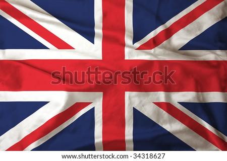 Satin UK flag - stock photo