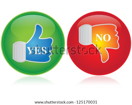 Satisfaction Concept Present By Thumb Up and Thumb Down Icon Isolated on White Background - stock photo