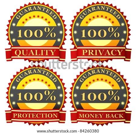 Satisfaction guarantee labels - stock photo
