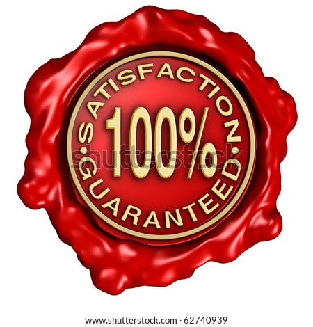 satisfaction guaranteed red gold wax crest stamp isolated