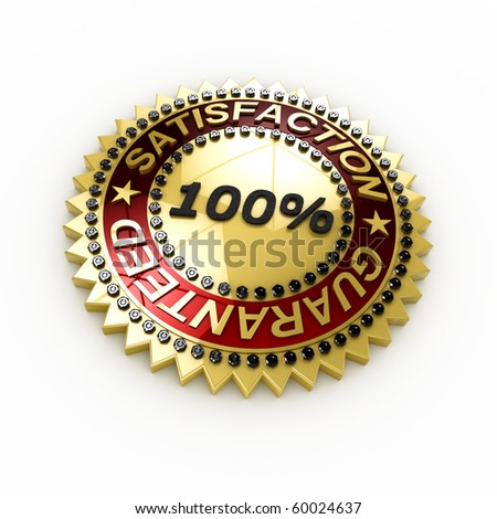 Satisfaction Guaranteed seal over white background - stock photo