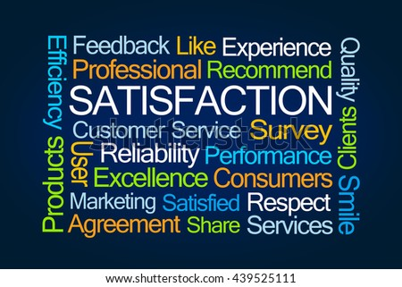 Satisfaction Word Cloud on Blue Background - stock photo