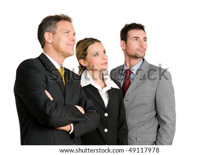 Satisfied confident business team looking away at their bright future isolated on white background - stock photo