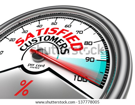 satisfied customers conceptual meter indicating hundred percent, isolated on white background - stock photo