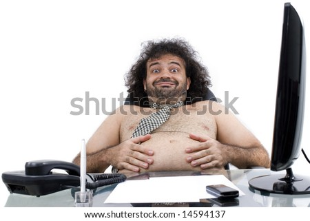 Satisfied Fat man in the office on white . - stock photo