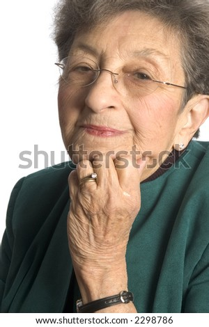 satisfied look senior woman executive portrait happy content