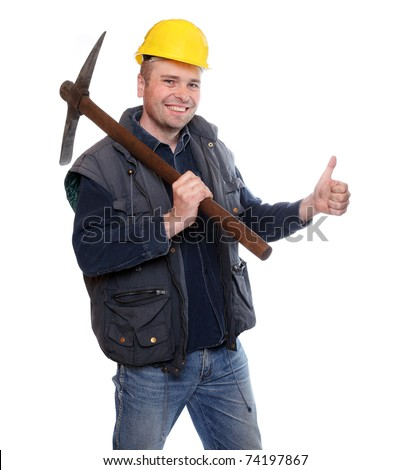 Satisfied male miner with pick axe showing thumbs up. - stock photo
