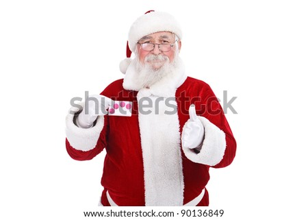 satisfied Santa Claus showing credit card, isolated on white background - stock photo