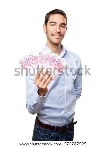 Satisfied young man with lots of money - stock photo