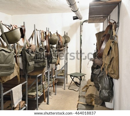 SATOV, CZECH REPUBLIC   JULY 29, 2016: Guard Bedroom With Bunk Beds And
