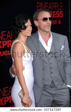 "Satsuki Mitchell and Daniel Craig  at the Los Angeles Premiere of ""Pineapple Express"". Mann Village Theater, Westwood, CA. 07-31-08 - stock photo"