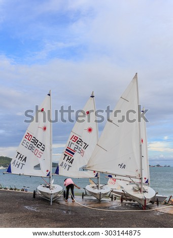SATTAHIP CHONBURI- AUGUST,5 : The group of sailor finished training sailing in the sea at Sattaheep bay that prepare for next regatta competition.THAILAND  AUGUST,5 2015.
