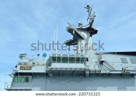 SATTAHIP, CHONBURI - SEPTEMBER 21 : CVH-911or HTMS Chakri Naruebet is permitted to visit and take photograph at naval base on September 21, 2014 in Sattahip, Chonburi, Thailand. - stock photo