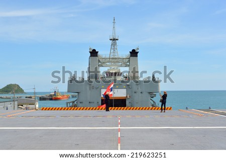 SATTAHIP, CHONBURI - SEPTEMBER 21 : People are permitted to visit CVH-911or HTMS Chakri Naruebet and take photograph at naval base on September 21, 2014 in Sattahip, Chonburi, Thailand. - stock photo