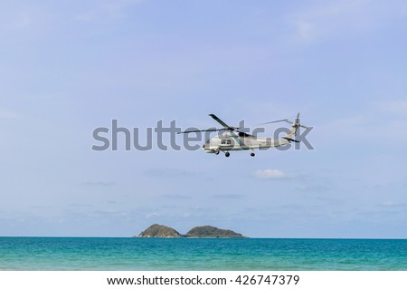 Sattahip Naval Base,Thailand, May 9, 2016, Thai Black Hawk helicopter takes off the coast reconnaissance daily.