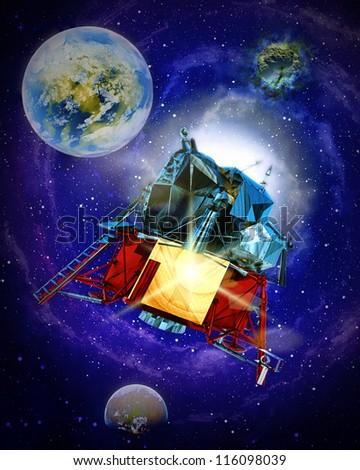 Sattelite travelling through galatic space - stock photo