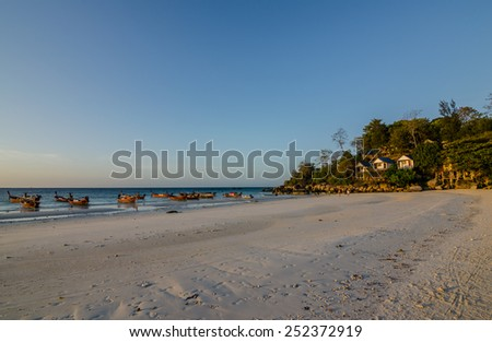 SATUN, THAILAND - FEBRUARY 4, 2015 : Beautiful beach and attractive scene of Lipe Island on February 4, 2015. Lipe Island is a famous Island of Andaman sea in Satun province, the southern of Thailand.