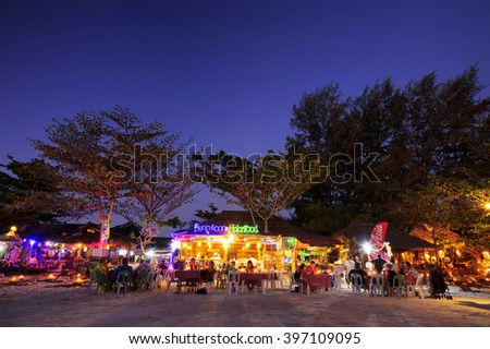 Satun Thailand - February 28 , 2014 : LIPE ISLAND, atun Thailand - February 28 , 2014 : Lipe island, twilight time tourists Thailand and foreigners scenic walking and popular to dinner on the beach. - stock photo