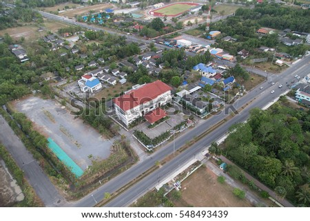Satun, Thailand - Febuary 19, 2015: Satun provincial administrative organization (Center of Photo) view from top. Satun is a calm city in south of Thailand  connects to andaman sea.